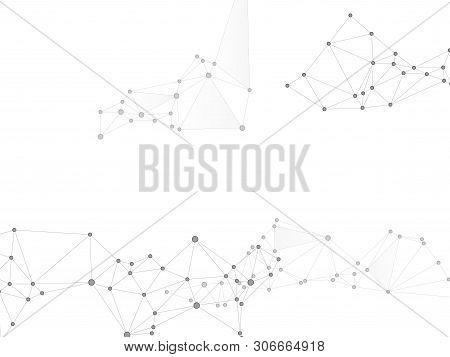 Block Chain Global Network Technology Concept. Network Nodes Greyscale Plexus Background. Dna Helix