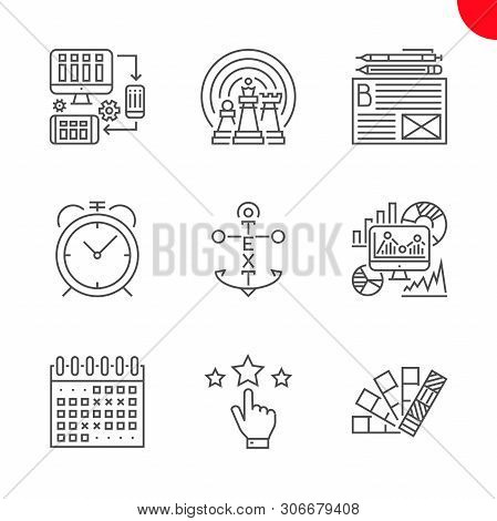 Seo Related Vector Line Icons. Colors, Reputation, Events Calendar, Seo Monitoring, Internet Marketi