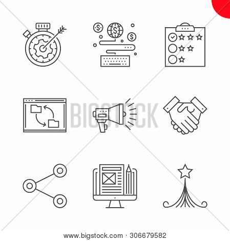 Seo Related Vector Line Icons Set. Strategy For Victory, Customer Reviews, Blog Management, Earn Onl