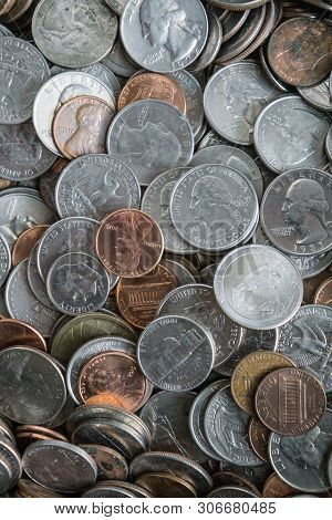 Coin Texture Background With A Pile Of Coins Everywhere