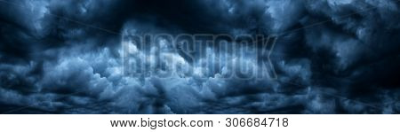 Dark Cloudy Sky Before Thunderstorm Panoramic Background. Storm Heaven Panorama. Wide Gloomy Backdro