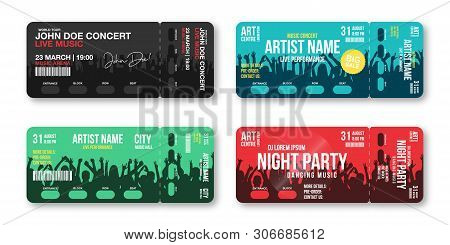 Set Of Concert Tickets Template. Concert, Party, Disco Or Festival Ticket Design Template With Peopl
