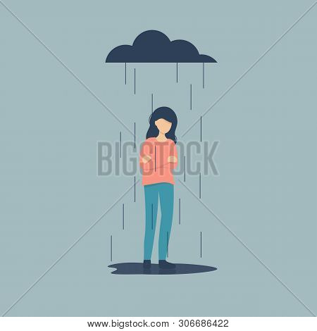Sad Female Character Standing Under The Rain. Overcast Weather. Emotions. Solitude Concept. Flat Vec