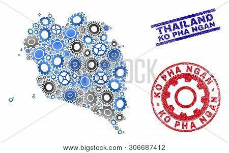 Repair Workshop Vector Ko Pha Ngan Map Mosaic And Seals. Abstract Ko Pha Ngan Map Is Created With Gr