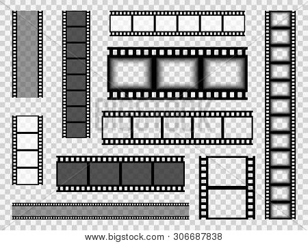 Film Strip Templates. Cinema Monochrome Border Celluloid Tape, Media Empty Image Photo Video Vintage