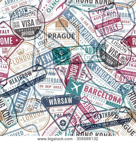 Travel Stamp Pattern. Vintage Traveler Passport Airport Visa Arrived Stamps. Traveling World Vacatio