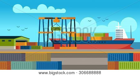 Ships In Dock. Loading Containers On Cargo Ship In Seaport Industrial Terminal. Marine Cargos Transp