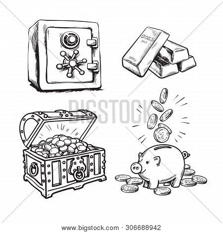 Finance, Money Set. Metal Bank Safe, Gold Bars, Old Treasure Chest With Gold Coins, Piggy Bank With