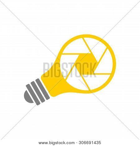Photo Idea Vector Illustration Logo Template. Lens Diaphragm Yellow Light Bulb Icon.