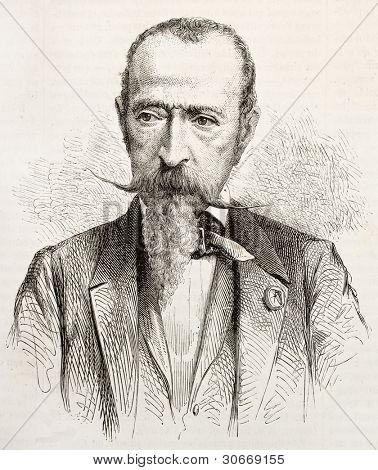 Horace Vernet old engraved portrait. Created by Janet-Lange, published on L'illustration, Journal Universel, Paris, 1863