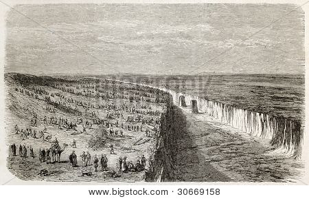 Nefiche, near Suez, Egypt: opening channel. Created by Blanchard, published on L'illustration, Journal Universel, Paris, 1863