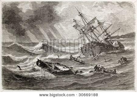 Monitor shipwreck old illustration in front of Cape Hatteras, North Carolina. Created by Lebreton, published on L'illustration, Journal Universel, Paris, 1863