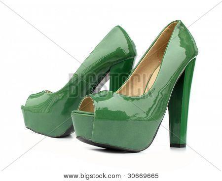Green high heels open toe pump shoes