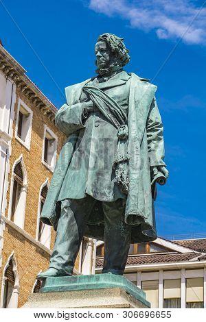View At Statue Of Italian Patriot Daniele Manin From 1875, By Luigi Borro In Venice, Italy
