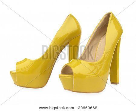 Yellow high heels open toe pump shoes