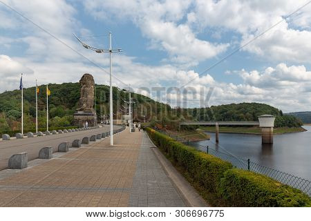 Gileppe, Belgium - August 22, 2018: View At Gileppe Dam With Artificial Lake In Belgium Ardennes Wit