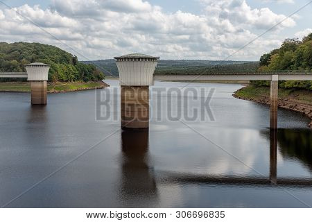 View At Artificial Lake Gileppe Dam In Belgium Ardennes With Two Drinking Water Supply Systems