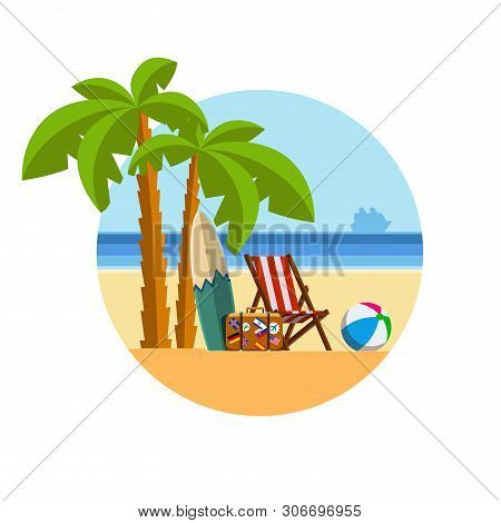 Holidays On The Sea Under The Palm Trees On A Sun Lounger. Holidays On Tropical Beach. Seaside Vacat
