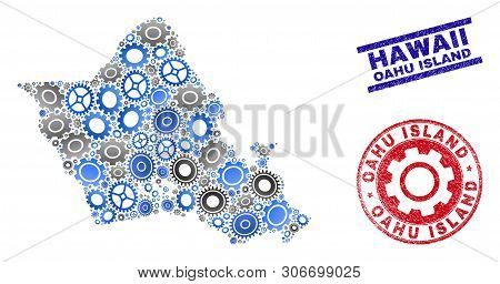 Wheel Vector Oahu Island Map Mosaic And Stamps. Abstract Oahu Island Map Is Designed Of Gradient Ran