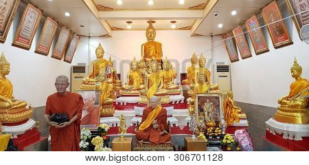 Inside The Viharn Is Situated The Ancient Head Of The Declining Buddha Image Prior To The Restoratio