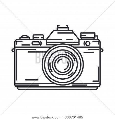 Line Vector Icon With Digital Slr Professional Camera. Photography Art. Megapixel Photocamera. Carto