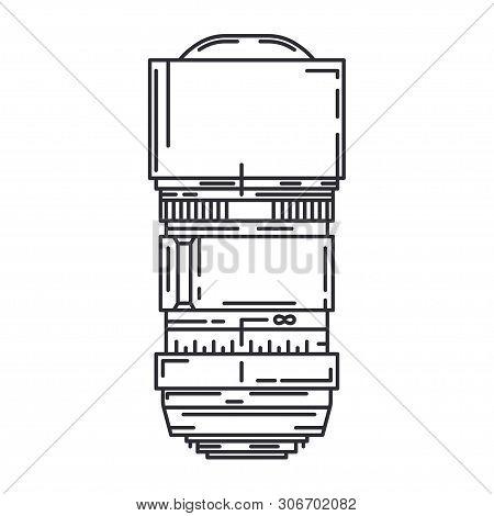 Line Flat Vector Icon Digital Photographer Professional Equipment. Photography Art. Photographic Cam