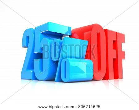 3d Render: Blue 25 Percent, Percentage Discount Sign On White, 25%special, Offer