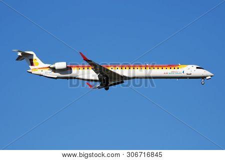 Iberia Regional Air Nostrum Bombardier Crj-1000 Ec-lkf Passenger Plane Landing At Madrid Barajas Air