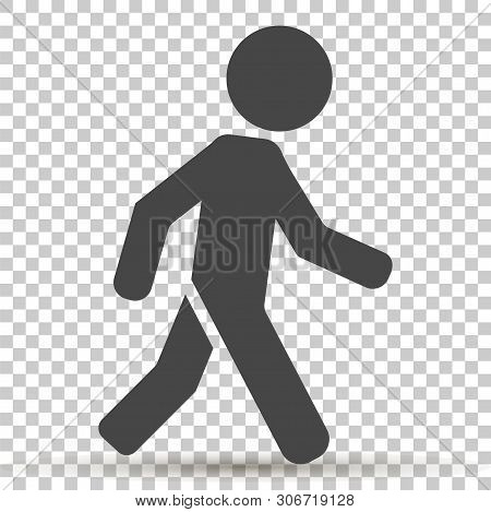 Vector Icon Of A Walking Pedestrian. Illustration Of A Walking Man On Transparent Background