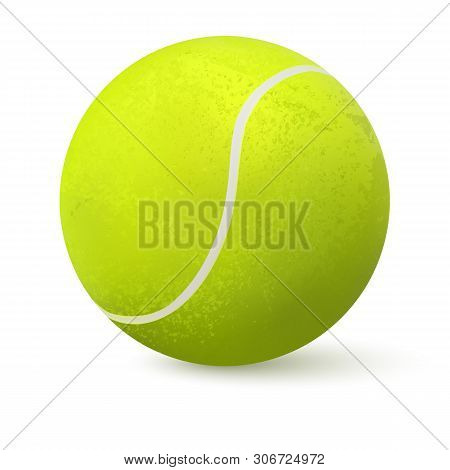 3d Realistic Tennis Ball Closeup Isolated On White Background. Green Realistic Tennis Ball Clipart D