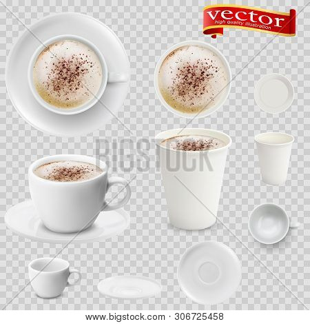 3d Realistic Mocha Coffee In White Cups View From The Top And Side. Mocha Coffee In White Paper Cups