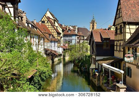 Colmar, France - April 18, 2019. The Little Venice Of Colmar - Is A Picturesque Old Tourist Neighbor