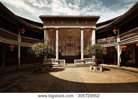 FUJIAN, CHINA – MARCH 2, 2018: Zhencheng Lou is one of the several known Tulou buildings. Tulou is the unique traditional rural dwelling of Hakka.
