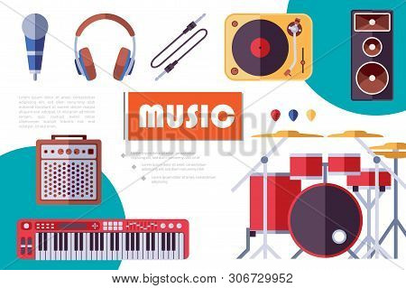 Flat Musical Instruments Composition With Electric Guitars Plectrums Headphones Audio Speaker Drum K