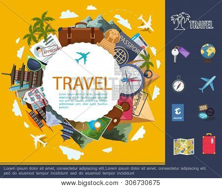 Flat Travel Around World Concept With Globe Plane Baggage Map Documents Sunglasses Compass Camera Ti