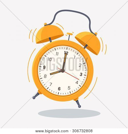 Yellow Ringing Alarm Clock Icon Isolated On White Background. Wake Up Time. Desk Clock Vector Illust