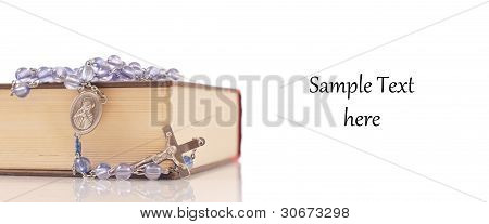 Rosary And Bible With Space For Text