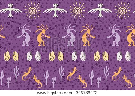 Southwestern native american vector ethnic tribal motifs seamless pattern. Aborigine design with dancing god music spirit, wild nature, spiral signs. Authentic fashionable print pattern. poster
