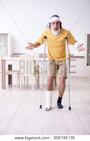 Young man after accident recovering at home  poster
