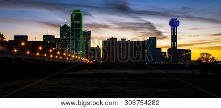 Golden Hour Sunrise With Pink Clouds Orange Bright Glow Over The Big City Dallas Texas Usa Skyline C