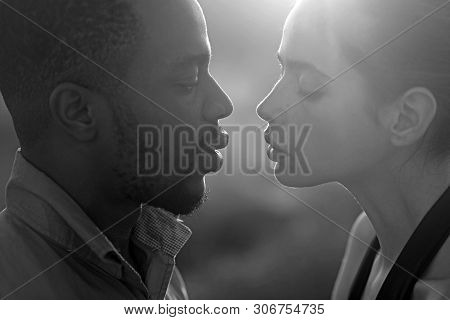 Multiethnic Family, Diversity. Woman And African American Man Ready To Kiss On Summer Vacation. Coup