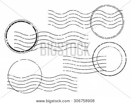 Postage Stamps. Wavy And Circular Postage Cancellation.