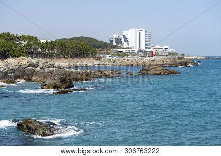 Seaside Of North-eastern Busan Seen From Haedong Yonggungsa Temple, One Of Tourist Landmarks And Att
