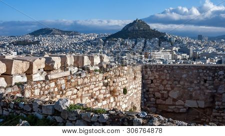 Panoramic View To Lykavittos Hill In City Of Athens, Attica, Greece