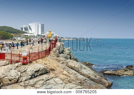 Busan, South Korea – April 2019: Haedong Yonggungsa, Buddhist Temple Situated On Seaside Of North-ea