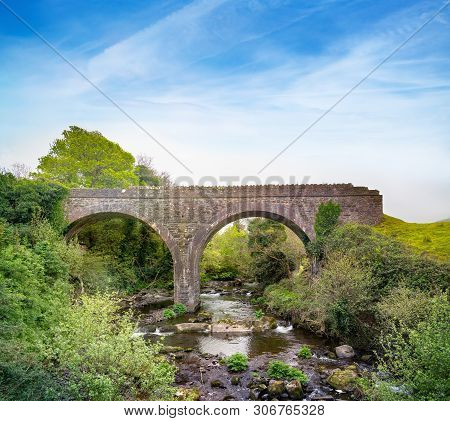 Double-arch Rubble Stone Railway Bridge Over Finglas River, Opened 1891, With Red Brick Dressings To