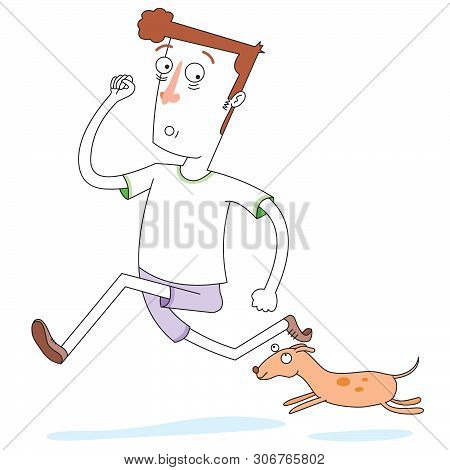 Illustration Of A Running With Lovely Dog