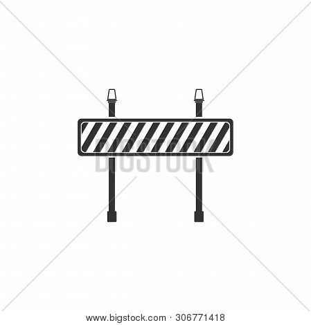 Road Barrier Icon Isolated. Symbol Of Restricted Area Which Are In Under Construction Processes. Fen