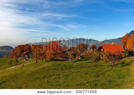 Amazing Autumn Panorama In Switzerland Apls Near Town Of Interlaken, Canton Of Bern