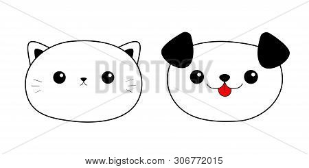 poster of Cat Dog head face. Linear silhouette icon set. Contour line. Cute cartoon kitty puppy character. Kawaii animal. Funny baby kitten pooch. Love card. Flat design. White background. Isolated. Vector